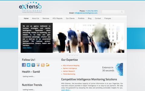 Screenshot of Home Page extensointelligence.com - Extenso Intelligence: an agency passionate about marketing intelligence and social medias - captured Oct. 3, 2014