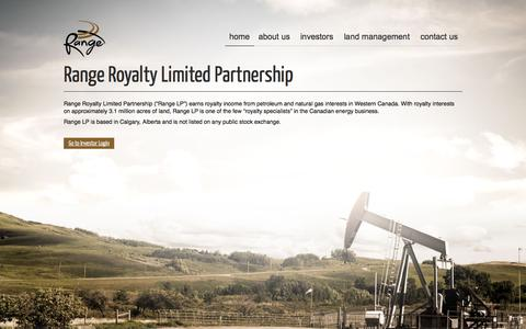 Screenshot of Home Page rangeroyalty.com - Range Royalty Limited Partnership - captured Oct. 7, 2014