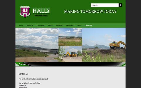 Screenshot of Contact Page hallsproperties.co.za - Halls Properties   –  Contact Us - captured Oct. 28, 2014