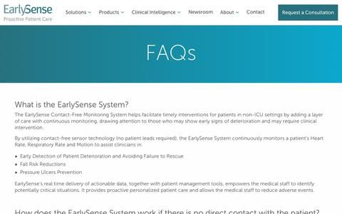 Screenshot of FAQ Page earlysense.com - FAQ - Early Sense - captured March 21, 2019