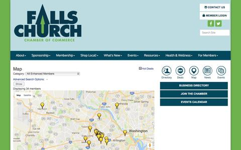 Screenshot of Maps & Directions Page fallschurchchamber.org - Map - Falls Church Chamber of Commerce, VA - captured Nov. 25, 2016