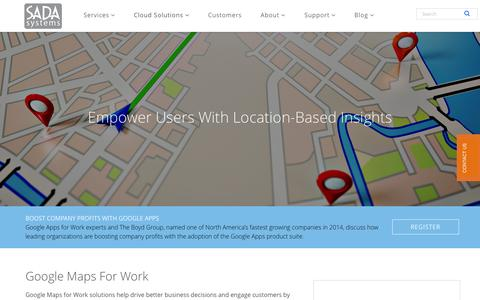 Screenshot of Maps & Directions Page sadasystems.com - Google Maps for Work » SADA Systems - captured Nov. 6, 2015