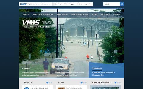 Screenshot of Home Page vims.edu - Virginia Institute of Marine Science - captured Oct. 6, 2014