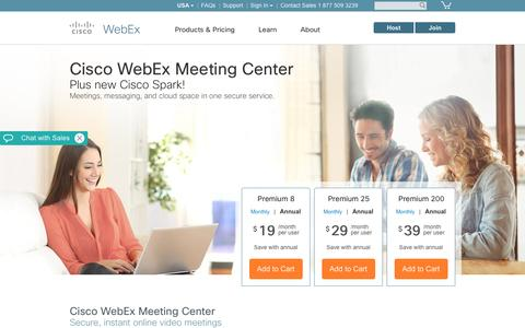 Screenshot of Pricing Page webex.com - Cisco WebEx + Cisco Spark — Plans for meeting, messaging, sharing. - captured April 21, 2017