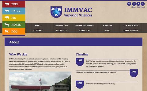 Screenshot of About Page immvac.com - About - IMMVAC - captured Nov. 18, 2016