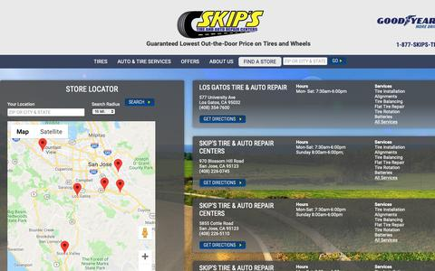 Screenshot of Contact Page skipstire.com - Contact Skip's Tire & Auto Repair Centers | Tires & Auto Repair Shop in CA - captured Oct. 20, 2018