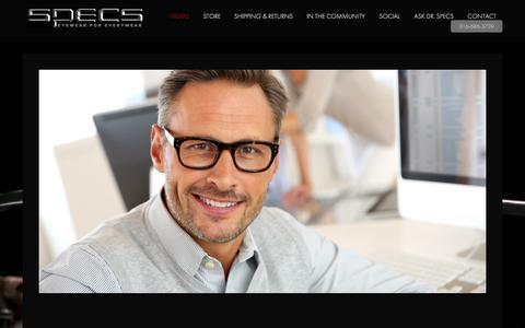 Screenshot of Home Page specsrx.com - Home - Specs Eyewear - captured Oct. 6, 2014