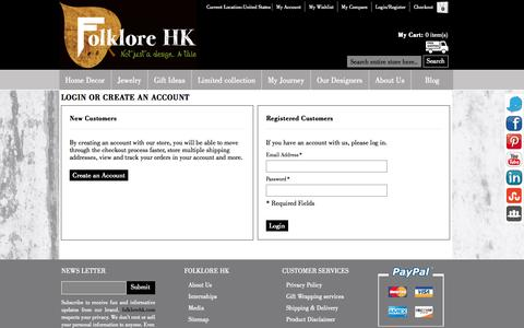 Screenshot of Login Page folklorehk.com - Customer Login  | FolkloreHK.com - captured Sept. 30, 2014