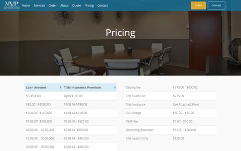 Screenshot of Pricing Page mvptitle.com - Pricing – MVP National Title - captured Oct. 1, 2018