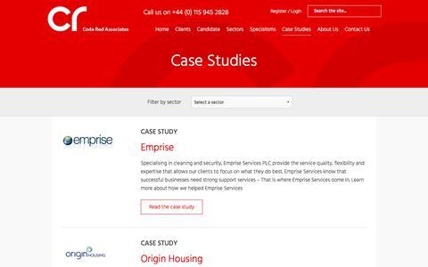 Screenshot of Case Studies Page coderedassociates.com - Case Studies Archive - Code Red Associates - captured July 20, 2018