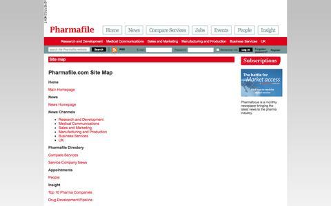 Screenshot of Site Map Page pharmafile.com - Site map | Pharmafile - captured Sept. 23, 2014