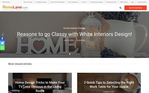 Screenshot of Blog homelane.com - HomeLane.com - Home Interiors & Modular Kitchen design Tips & Ideas. - captured July 28, 2019