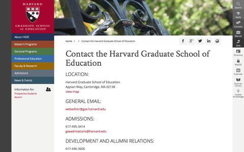 Screenshot of Contact Page harvard.edu - Contact the Harvard Graduate School of Education | Harvard Graduate School of Education - captured Sept. 13, 2014