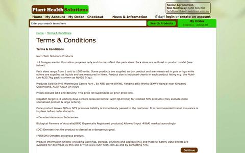 Screenshot of Terms Page planthealthsolutions.com.au - Terms & Conditions - captured Oct. 22, 2014