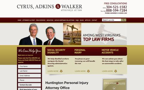 Screenshot of Maps & Directions Page cyrusandadkins.com - Huntington, WV, Office Location | Cyrus, Adkins & Walker, Attorneys at Law | Huntington, West Virginia - captured Oct. 3, 2014