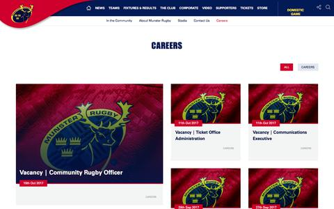 Screenshot of Jobs Page munsterrugby.ie - Munster Rugby | Careers - captured Oct. 21, 2017