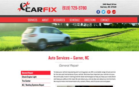 Screenshot of Services Page carfix.us.com - Auto Services | Automotive Repair in Garner, NC | CarFix - captured Oct. 28, 2014