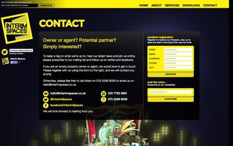 Screenshot of Contact Page interimspaces.co.uk - Interim Spaces   Contact - captured Sept. 30, 2014