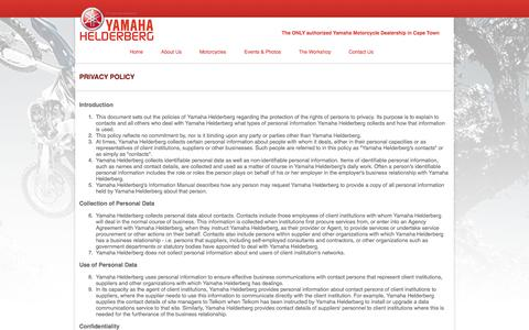 Screenshot of Privacy Page helderbergyamaha.co.za - Yamaha Helderberg: The ONLY authorised Yamaha Dealer in the Western Cape - captured Oct. 1, 2014