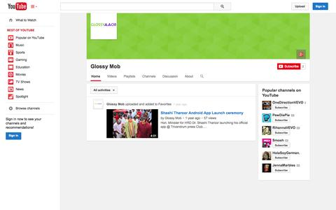 Screenshot of YouTube Page youtube.com - Glossy Mob  - YouTube - captured Oct. 22, 2014