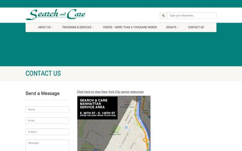 Screenshot of Contact Page searchandcare.org - Contact Us | Search and Care - captured Sept. 21, 2018