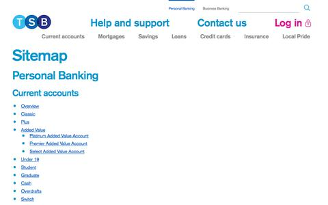 Screenshot of Site Map Page tsb.co.uk - Sitemap | TSB Bank - captured Oct. 29, 2017