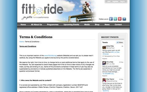 Screenshot of Terms Page fittoride.org - Terms & Conditions   Fit to Ride - captured Oct. 2, 2014