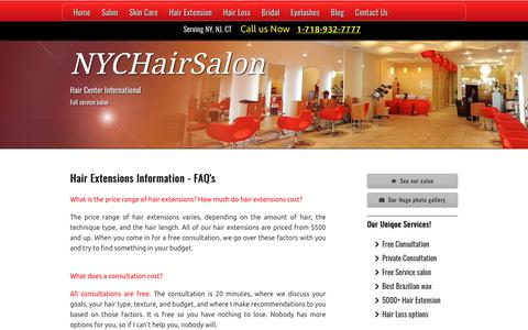 Screenshot of FAQ Page nychairsalon.com - Hair Extensions Information Hair Extension Prices - Cost - captured Sept. 27, 2018