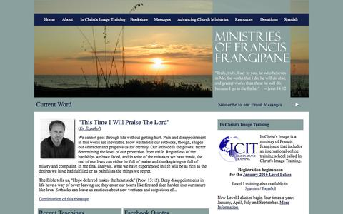 Screenshot of Home Page frangipane.org - Ministries of Francis Frangipane - captured Sept. 12, 2015