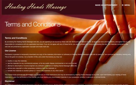 Screenshot of Terms Page iddyshealinghands.com - Terms and Conditions - Healing Hands Massage | Paso Robles - captured Oct. 2, 2014