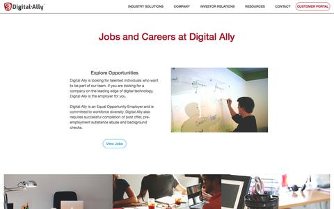 Screenshot of Jobs Page digitalallyinc.com - Start a Career with Digital Ally - captured Feb. 7, 2020