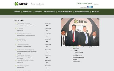 Screenshot of Press Page smcindiaonline.com - SMC Media Center – SMC in News, Events, Seminars and Media Contacts - captured Sept. 19, 2014