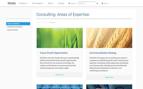 Screenshot of Services Page idtechex.com - Consulting: Areas of Expertise - captured Jan. 8, 2020