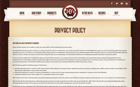 Screenshot of Privacy Page jdfoods.net - Privacy Policy - J&D's Foods, Inc. - captured Oct. 3, 2014
