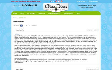 Screenshot of Testimonials Page glidebikes.com - Testimonials - Glide Bikes - Easy to Glide, Fun to Ride! - Balance Bikes for 18mos to 10 years old! - captured Sept. 22, 2014