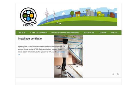 Screenshot of Home Page Menu Page q-essence.be - Q-essence » Q-essence is een onderneming met totaaloplossingen voor energiebewust bouwen en gezond wonen. - captured Sept. 26, 2014