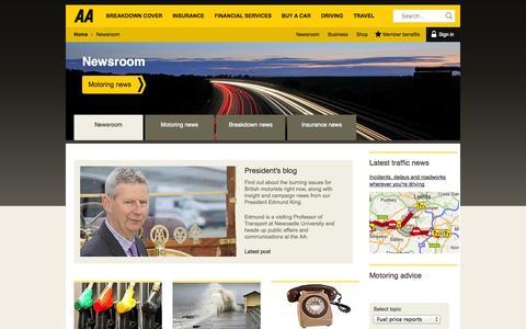 Screenshot of Press Page theaa.com - Latest | AA - captured Sept. 18, 2014