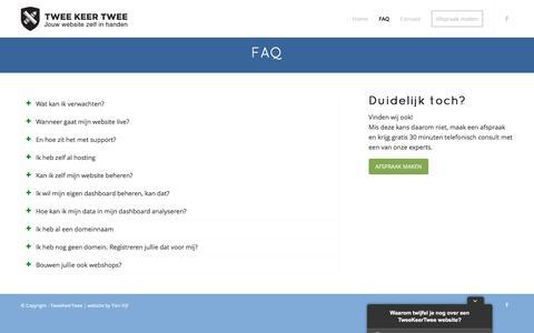 Screenshot of FAQ Page tweekeertwee.nl - FAQ - TweeKeerTwee - captured Aug. 16, 2016