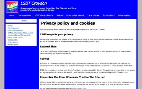 Screenshot of Privacy Page lgbt-croydon.org.uk - Privacy policy and cookies | LGBT Croydon - captured March 25, 2016