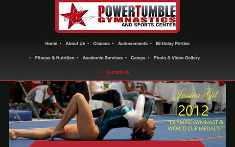Screenshot of Contact Page powertumblegymnastics.com - Power Tumble Gymnastics - Contact Us - captured Dec. 10, 2015