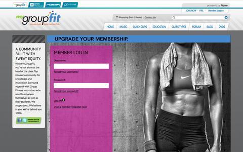 Screenshot of Login Page mygroupfit.com - MyGroupFit | Music, Choreography & More for Group Fitness Instructors - captured April 8, 2016
