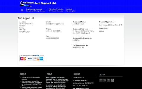 Screenshot of Contact Page aerosupport.aero - Aero Support Contact Information - captured Feb. 5, 2016