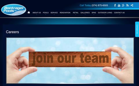 Screenshot of Jobs Page bontragerpools.com - Careers - Bontrager Pools : Bontrager Pools - captured Oct. 10, 2017
