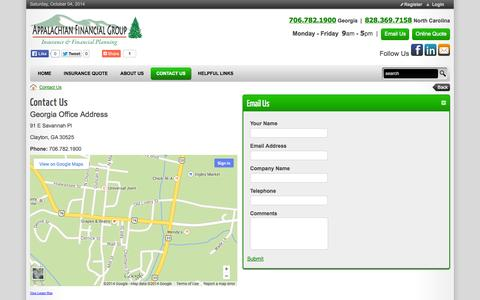 Screenshot of Maps & Directions Page appalachian-financial.com - Appalachian Financial Group Inc. > Contact Us - captured Oct. 4, 2014
