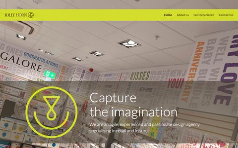 Screenshot of Home Page jollyhorn.com - Jolly Horn   We are an agile, experienced and passionate design agency specialising in retail and leisure - captured Jan. 9, 2016