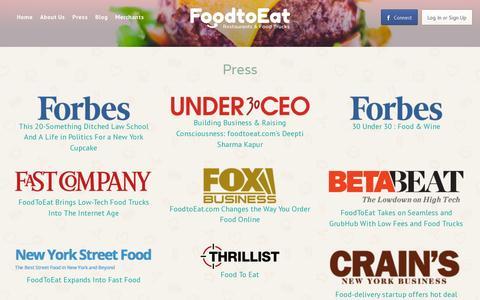 Screenshot of Press Page foodtoeat.com - Press - captured July 19, 2014