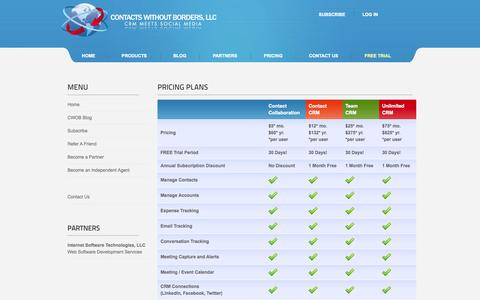 Screenshot of Pricing Page contactswithoutborders.com - Contacts Without Borders - Pricing Plans - captured Sept. 30, 2014