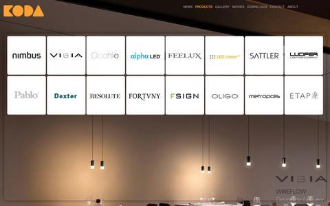 Screenshot of Products Page kodalighting.com.au - Products | Koda Lighting - captured Sept. 30, 2014