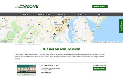 Screenshot of Locations Page selfstoragezone.com - DC Metro Area Storage | Self Storage Zone - captured July 30, 2018