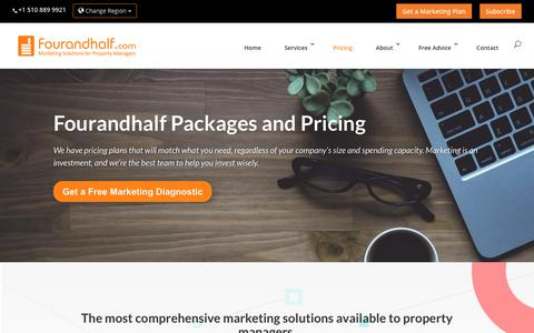 Screenshot of Pricing Page fourandhalf.com - Fourandhalf Marketing Packages and Pricing | Fourandhalf - captured July 15, 2019